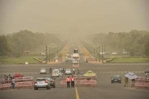 A view of Vijay Chowk and Rajpath during a mild dust storm in New Delhi on Tuesday, June 12, 2018.
