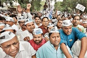 AAP leaders hold a protest against LieutenantGovernor Anil Baijal on Wednesday.