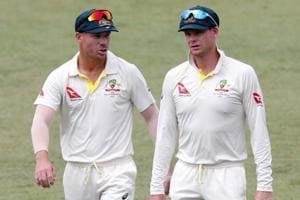 Steve Smith, David Warner and Cameron Bancroft (not in pic) were all suspended for their roles in the incident when sandpaper was used to rough up the ball during a Test against South Africa in March.