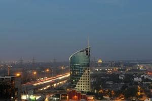 The skyline view of Cyber City in Gurgaon.