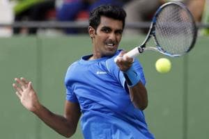 Prajnesh Gunneswaran, playing his maiden ATP World Tour event, lost to Guido Pella in straight sets.