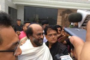 Rajinikanth talking to reporters in Kurseong on Thursday.