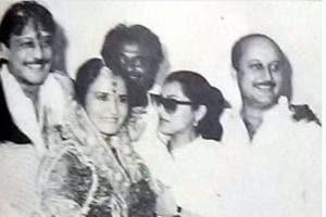 Jackie Shroff with wife Ayesha, Rajinikanth, Dimple Kapadia and AnupamKher in a single frame.