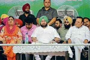 Chief minister Capt Amarinder Singh flanked in the front row by former CM Rajinder Kaur Bhattal (left) and Jalandhar MP Santokh Singh Chaudhary at Shahkot on Thursday.