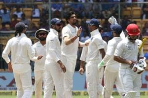Javed Ahmadi is bowled by Ishant Sharma during day two of the Test match between India and Afghanistan at the M. Chinnaswamy Stadium in Bangalore. Get full cricket score of India vs Afghanistan, one-off Test, Bangalore here