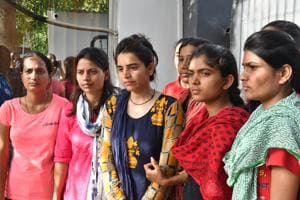 Women who were arrested for raising slogans during CMShivraj Singh Chouhan's event for demanding relaxation in height criteria in recruitment of Madhya Pradesh police constables, voice their grievance in Bhopal on Thursday.