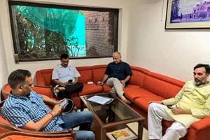 Delhi CMArvind Kejriwal, deputy CM Manish Sisodia, and state ministers Satyendra Jain and Gopal Rai during a sit-in protest at L-G Anil Baijal's residence.
