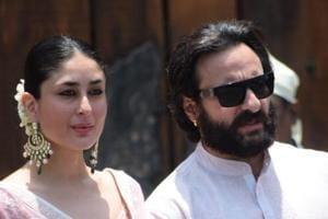 Kareena Kapoor Khan with her husband Saif Ali Khan during wedding ceremony of Sonam Kapoor and Anand Ahuja in Mumbai.