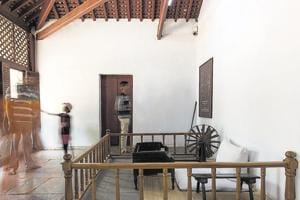 Gandhi's room at Hridaykunj, his living quarters at Sabarmati Ashram. In addition to his room, Hridaykunj also comprises  Kasturba Gandhi's room, a guest room, kitchen, store room and verandah.
