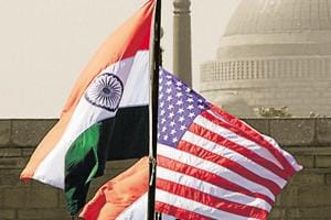 File photo of Indian and US national flags in front of the Rashtrapati Bhawan in New Delhi.