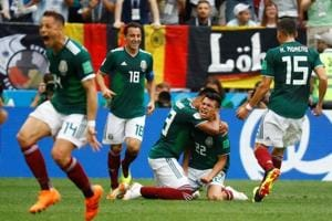 Hirving Lozano celebrates after scoring for Mexico during their FIFAWorld Cup 2018 encounter against Germany in Moscow on Sunday.