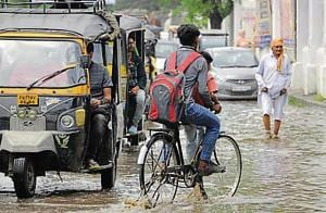 Normal life was thrown out of the gear in Patiala as waterlogged roads led to slow traffic movement