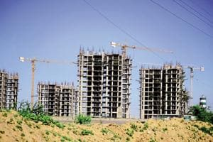An under-construction building in Gurugram.