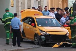 A view shows a damaged taxi, which ran into a crowd of people, in central Moscow, Russia June 16, 2018.