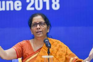 Union Defence Minister Nirmala Sitharaman addresses a press conference regarding achievements of Ministry of Defence during NDA government, in New Delhi.