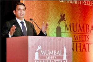 Devendra Fadnavis speaking at one of the meets in US.