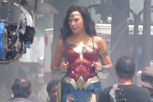 Gal Gadot on the set of Wonder Woman 1984.