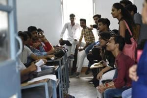 Students interact with their seniors and teachers at Ramjas College in New Delhi.