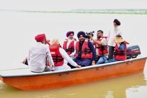 Punjab tourism minister Navjot Singh Sidhu during his visit to Harike in Tarn Taran district on Monday.