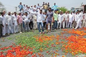 Vegetables lie scattered on a road during farmers protest in Hisar on June 03.
