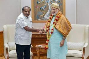 Karnataka chief minister HD Kumaraswamy meets Prime Minister Narendra Modi, in New Delhi,  May 28