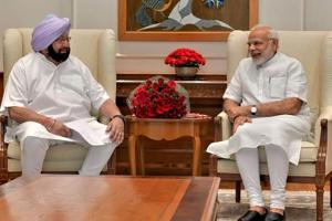 Prime Minister Narendra Modi with Punjab chief minister Amarinder Singh in New Delhi on Monday.