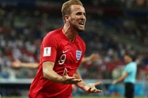 Harry Kane celebrates after scoring for England during their FIFAWorld Cup 2018 encounter against Tunisia.