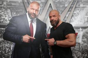 WWE Executive Vice President of Talent, Live Events and Creative Paul 'Triple H' Levesque - seen here posing with a cardboard cutout of himself - is optimistic about the growth of the brand in India.