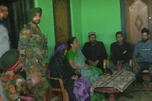 Defence minister Nirmala Sitharaman meets the family of army jawan Aurangzeb, who was abducted and killed by militants in Kashmir, in Jammu on Wednesday.