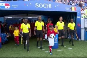 Rishi Tej (centre with the ball) became the first ever official match ball carrier from India at FIFA World Cup 2018, during the Group G match between Belgium and Panama earlier this week.