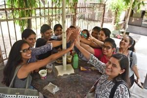 DU students enjoy a snack at their college canteen.
