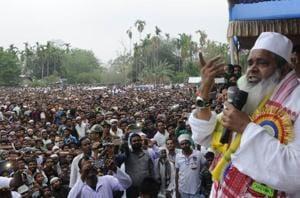 Badruddin Ajmal is addresses an election rally at Gossaingaon Telipara, Assam India in April  2016.