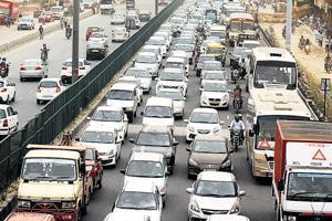 Traffic jam on the Delhi-Gurugram expressway.