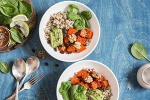 Quinoa with spinach and avocado.
