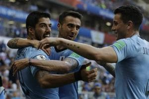 Luis Suarez scored a goal in the 23rd minute as Uruguay defeated Saudi Arabia 1-0 to enter the round of 16 from Group A along with Russia.