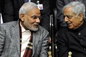 Prime Minister Narendra  Modi with former Jammu &Kashmir chief minister Mufti Mohammad Sayeed