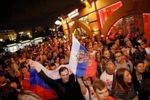 Fans celebrate on the streets after Russia beat Egypt in the FIFAWorld Cup 2018 on Tuesday.