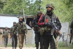 Army soldiers near the site of an encounter in Shopian, Jammu and Kashmir.