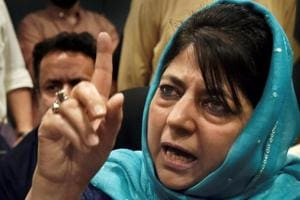 Outgoing Jammu and Kashmir chief minister Mehbooba Mufti addresses a press conference in Srinagar on Tuesday.