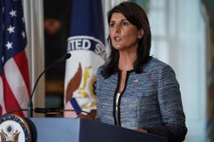 US Ambassador to the United Nations, Nikki Haley, announcing the withdrawal of the US from the United Nations Human Rights Council at the Department of State in Washington, US, June 19, 2018