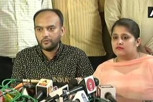 Anas Siddique and Tanvi Seth address the press at the regional transport office in Lucknow on Thursday.