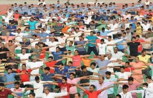 People perform yoga to mark the 4th International Day of Yoga, in Patna, Bihar.