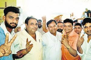 BJP supporters at Manakpur Adampur zila panchayat election in Haridwar.