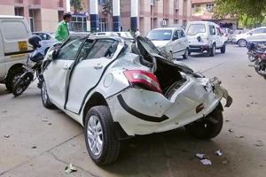 The boy, who was behind the wheel, suffered severe injuries to his head and has been referred to a hospital in Gurugram.