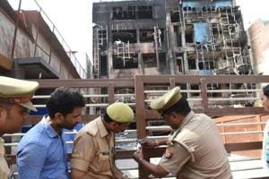 Police sealing Viraat International hotel in Charbagh area of Lucknow where a major fire broke out on Tuesday. The incident  points towards the connivance of power employees with the hotel owners in creating a situation that led to the deadly fire.
