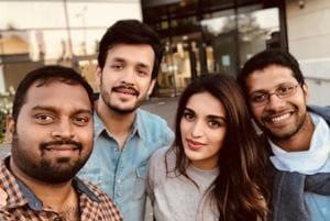 Akhil Akkineni, Nidhhi Agerwal and Venky Atluri are in London for the shoot of #Akhil3.