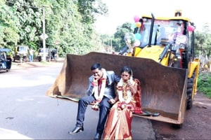 Couple took a ride on a JCB after their wedding (ANI)