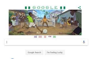 A Google doodle depicting football culture in Nigeria, who are playing at the FIFA World Cup 2018.