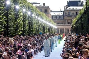 Models present creations by designer Virgil Abloh as part of his Spring/Summer 2019 collection for Louis Vuitton.