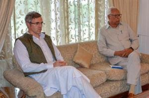Governor NN Vohra with National Conference Vice President Omar Abdullah during an all party meeting with the former at Raj Bhawan, in Srinagar on June 22, 2018.